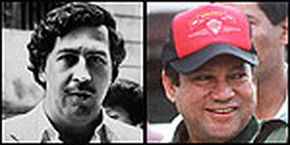 Left: Pablo Escobar. Photo: Corbis; Right: Gen. Manuel Noriega; Photo: DSK/AFP/Getty Images