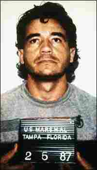 Mug shot of Carlos Lehder, a former Colombian politician accused of heading a drug smuggling ring.