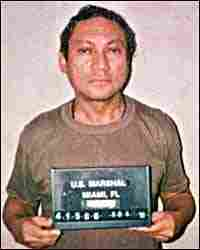 Mug shot of Panamanian General Manuel Noriega after his surrender to the DEA.