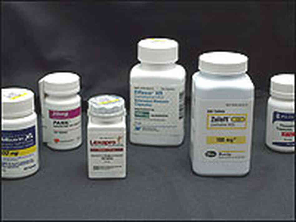 Bottles of antidepressant medications.
