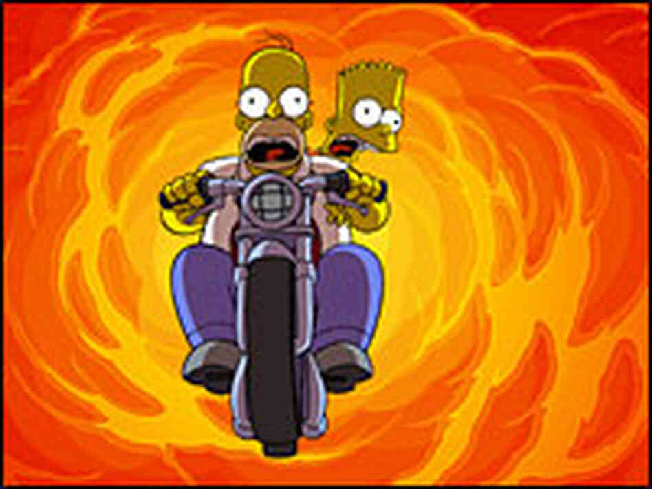Homer and Bart flee a fireball on a motorcycle