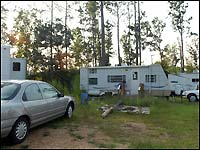 Trailers and cars at Scenic Trails trailer park.
