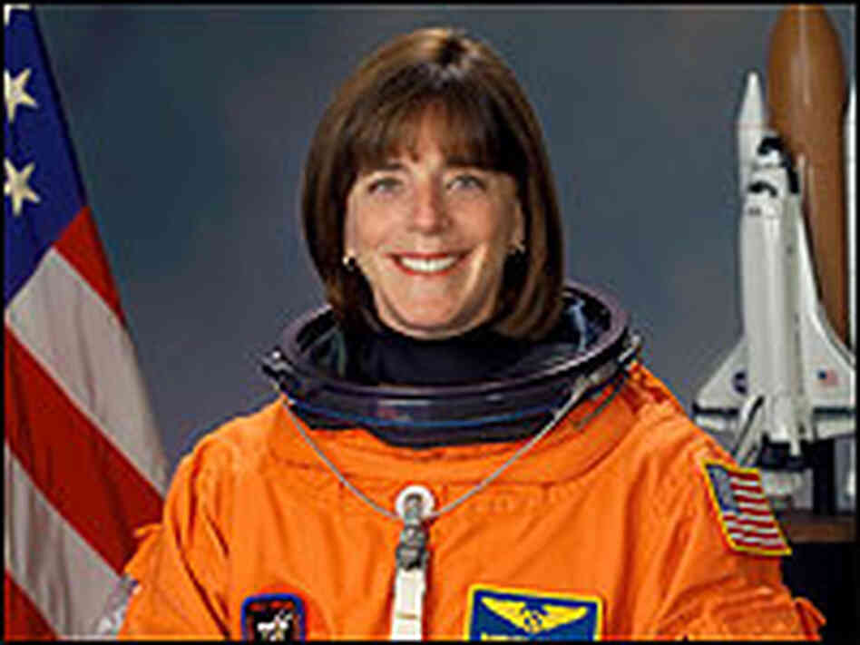 Barbara Morgan in her astronaut flight sui
