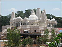 A full view of the Hindu temple