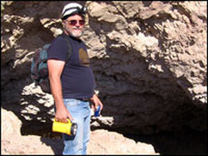 Ken Cole, a USGS geologist, heads into Gypsum Cave to explain the story of why Joshua trees will take a pummeling under climate change.
