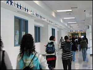 Hallways of Shoemaker High School