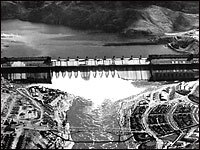 An aerial shot of the Grand Coulee Dam fro June 14, 1941. Woody Guthrie wrote songs about the partially completed dam in May 1941.