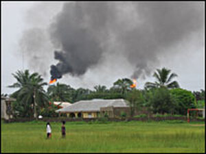 Smoke above Ebocha village