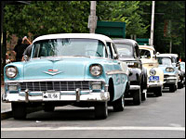 Vintage Studebakers and Chevys are part of the set for Indiana Jones 4, set in 1957.