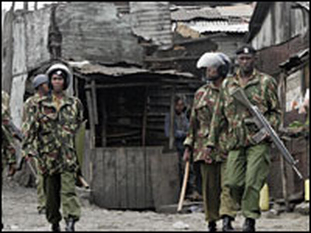 Police have intensified their patrols in Mathare, a Nairobi slum.