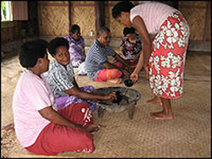 Village elders gather in Tikina Wai, a village on Viti Levu, for their daily kava ceremony. Kava is a tea made with cold water and the roots of a narcotic plant. The ceremony is the first stop for Nemata and other scientists seeking permission to study the coral reefs and mangrove forests.