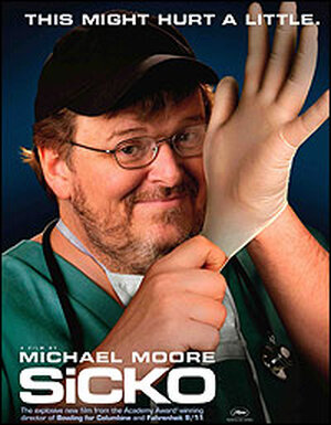 Michael Moore in doctors' scrubs.