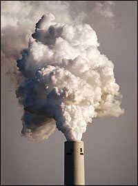 Billowing smokestack.