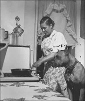 Billie Holiday in the Kitchen with Her Dog