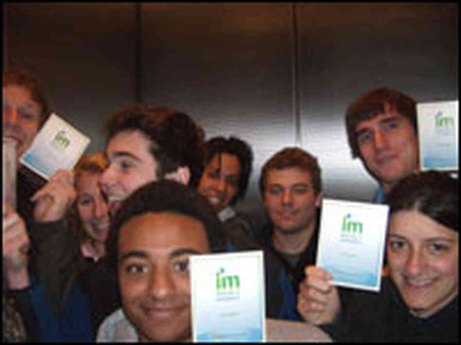 Georgetown University students flash Microsoft postcards