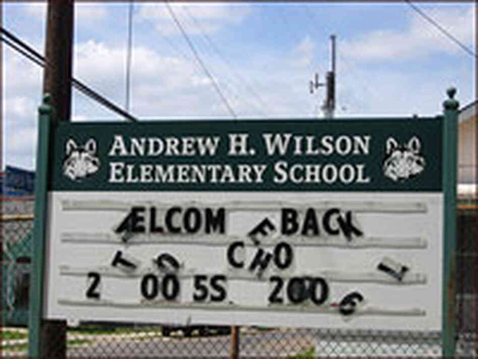 Marquee for the Still-Closed Andrew Wilson Elementary