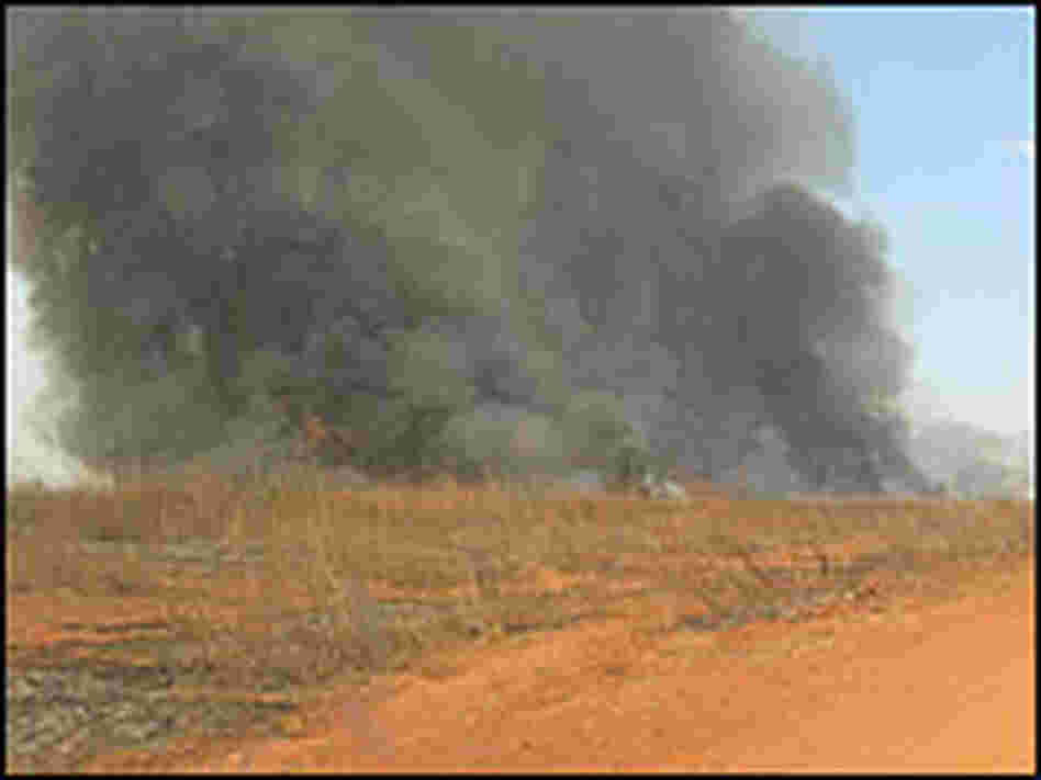 Smoke cloud from a fire burning on a Brazilian rancher's land.