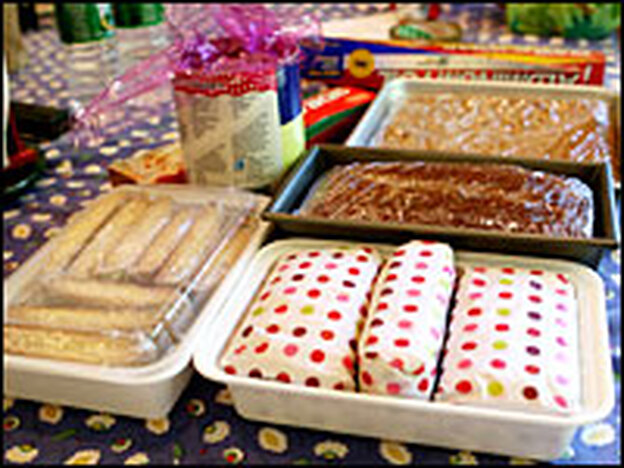 Cookbook author Dorie Greenspan wraps her baked goods in two layers of plastic wrap and festive polka-dotted tissue paper before shipping.