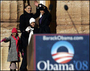Sen. Barack Obama (D-IL) with his family.
