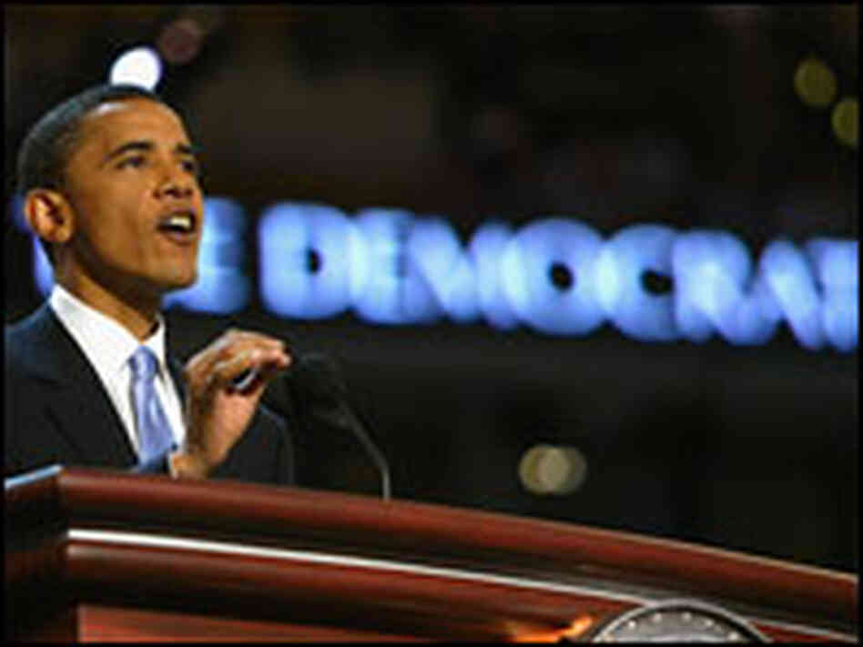 Obama delivering the keynote address at the Democratic National Convention.