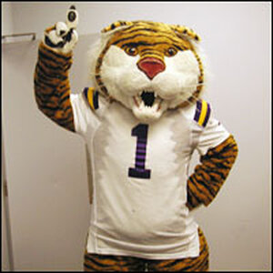 An LSU Tiger mascot