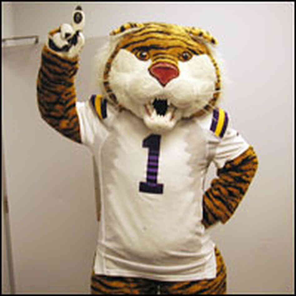 An LSU Tiger mascot