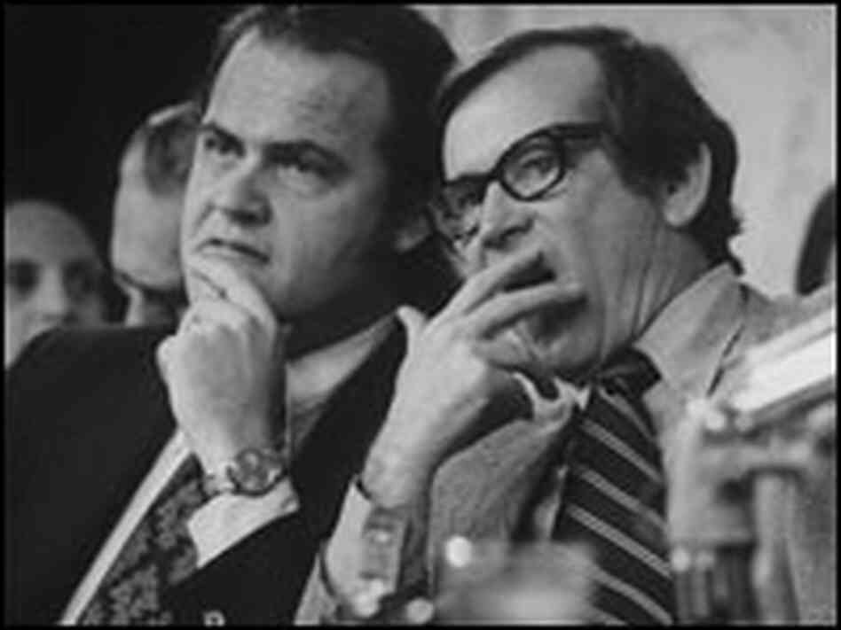 Fred Thompson (left), with Sen. Howard Baker (R), listens to proceedings during Watergate hearings.