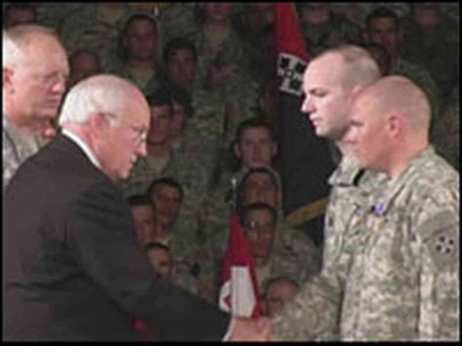 Hinkle receives a Purple Heart.