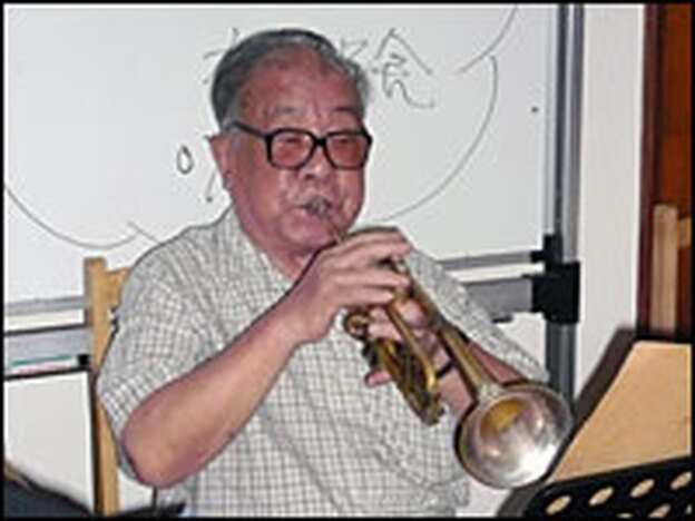 "Trumpet player Chen Yulin, 79, says that in the past, jazz music was demonized in China as ""reactionary,"" and used in films as background music whenever the enemy appeared."