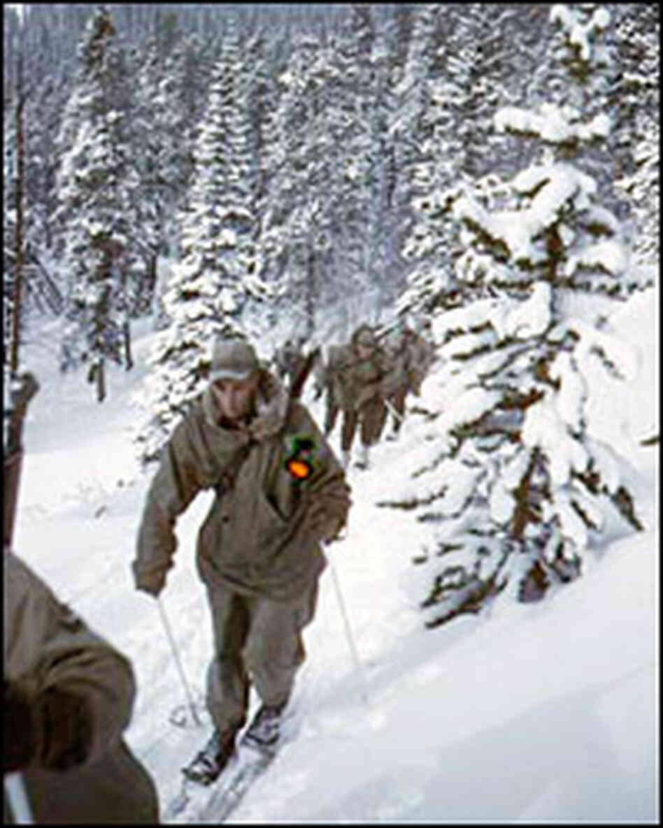 A group of 10th Mountain Division soldiers on skis move uphill