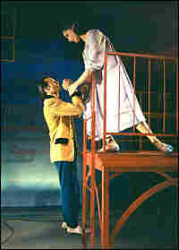 Larry Kert and Carol Lawrence, balcony scene from 1957 'West Side Story'