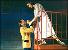 Larry Kert, Carol Lawrence, balcony scene from 1957 'West Side Story'