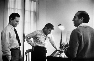 Sondheim (left) wrote the lyrics for West Side Story; classical-music superstar Leonard Bernstein (center) was the composer, Jerome Robbins the director and choreographer. The story of the show's genesis is told in the special NPR series 50 Years of West Side Story.