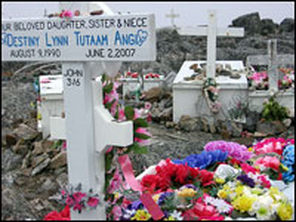 Grave site for Destiny Lynn Tutaam Angi, born August 9, 1990, died June 2, 2007. Destiny committed suicide before her 17th birthday.