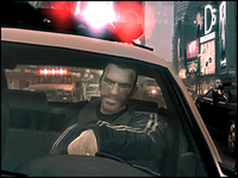 Niko Bellic in stolen police cruiser