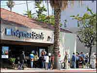 Customers line up at an IndyMac branch in California.