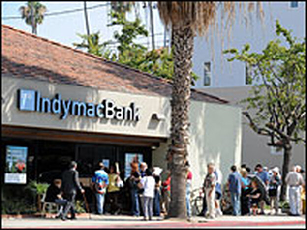 Customers line up to retrieve their deposits from an IndyMac branch in Santa Monica, Calif., in mid-July.