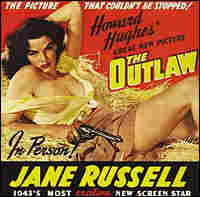 'Outlaw' poster: Jane Russell reclines on a haystack.