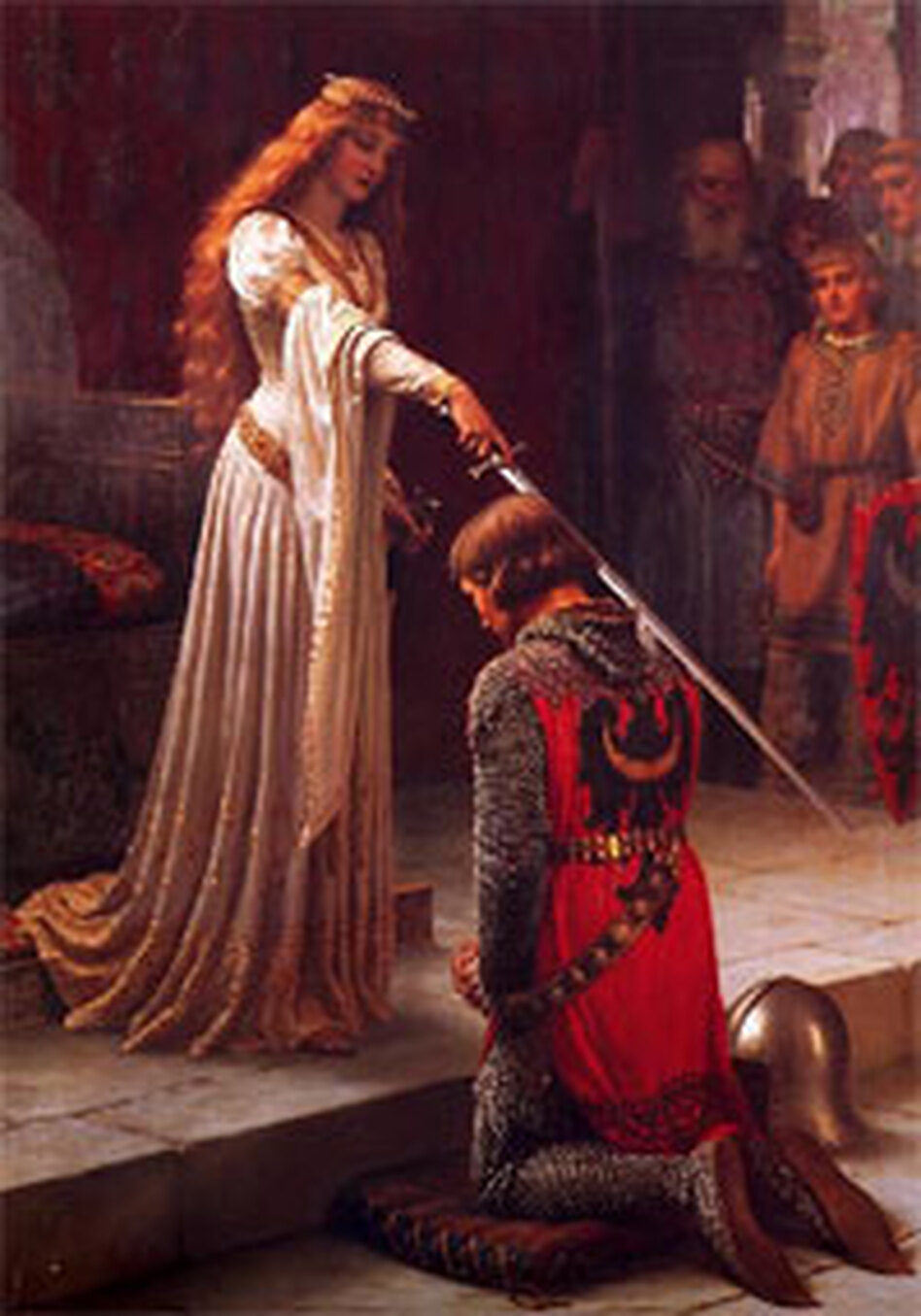 <em>The Accolade,</em> by Edmund Leighton (1901).