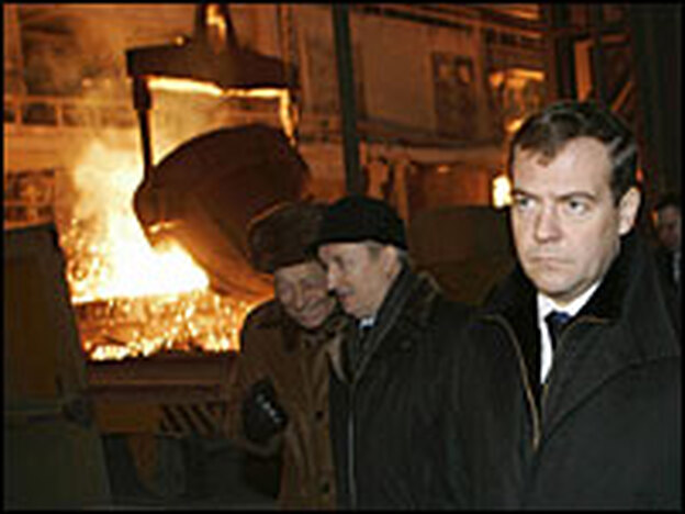 President Dmitry Medvedev visits a metallurgical facility in Chelyabinsk on Jan. 17, 2008, before his election as president.  He promised to deal with corruption, but political self-dealing in Chelyabinsk is on the rise.