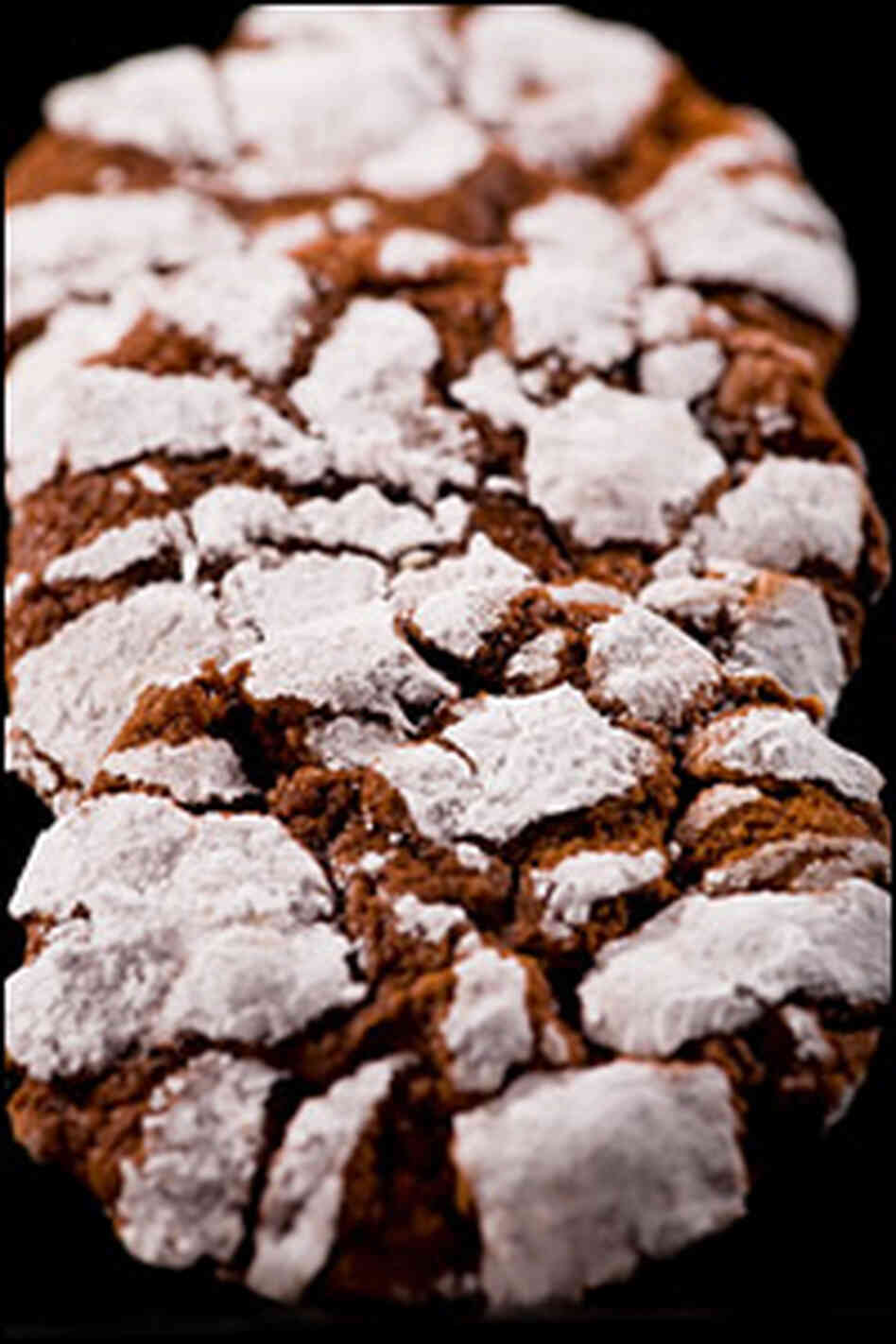 A chocolate crinkle cookie