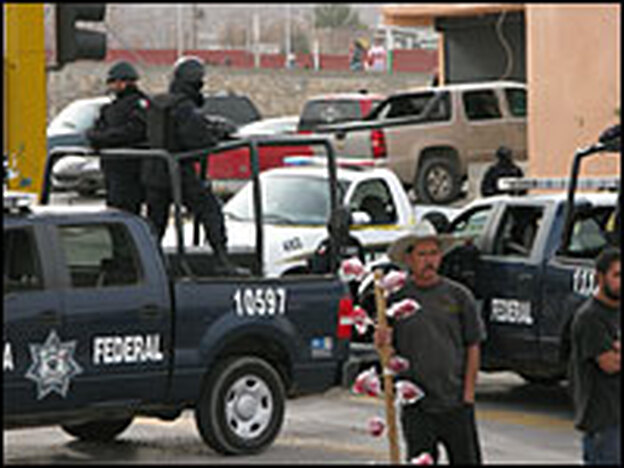 Federal police officers in Juarez are having a difficult time controlling the rampant drug-related murders and crime.