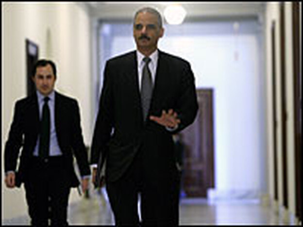 U.S. Attorney General nominee Eric Holder arrives for a meeting with the Senate Judiciary Committee on Dec. 8.