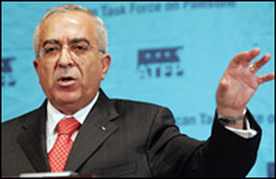 Palestinian Prime Minister Salaam Fayyad speaks at the National Press Club in Washington, D.C., on Monday.
