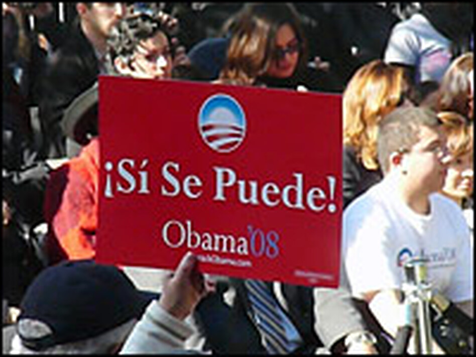 "A sign for Barack Obama proclaims ""<em>Si Se Puede</em>"" — or ""Yes We Can"" — at a campaign event at Los Angeles Trade Technical College on  Thursday. The Obama campaign is using the rallying cry of Cesar Chavez and the United Farm Workers union."