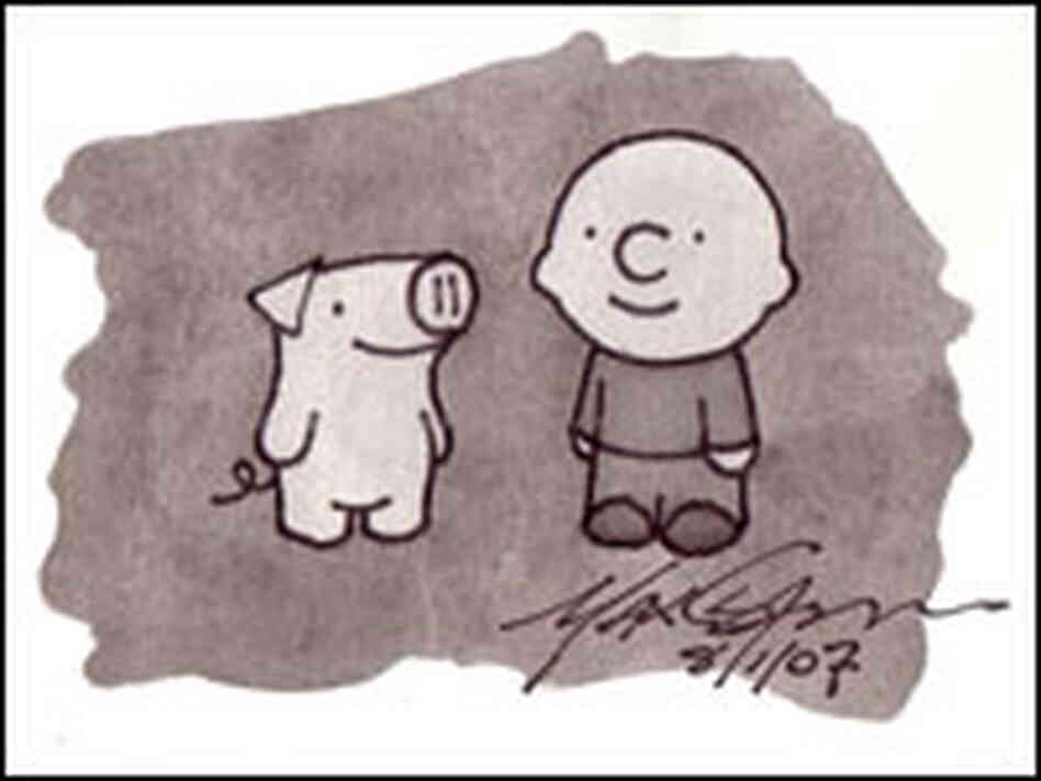 A black and white illustration of Max and Pinky