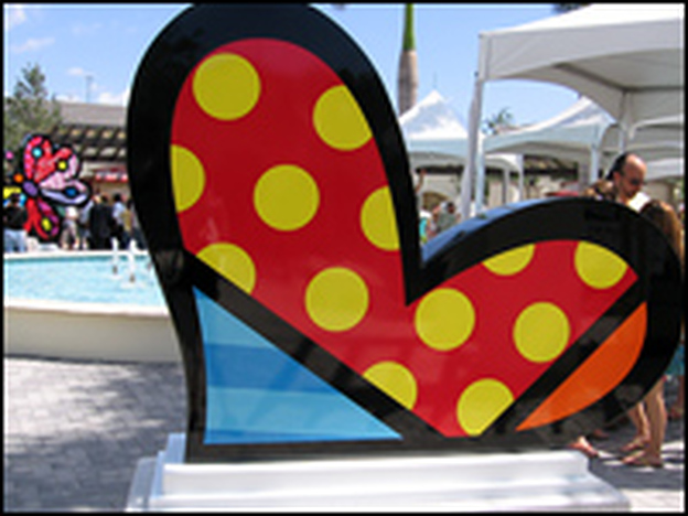 Artist Romero Britto's sculptures decorate a number of shopping malls in Miami.
