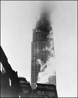 The Empire State Building after a B-25 bomber hit it on July 28, 1945.