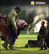 Hulk video launch photo -- The Hulk prepares to kick a soldier