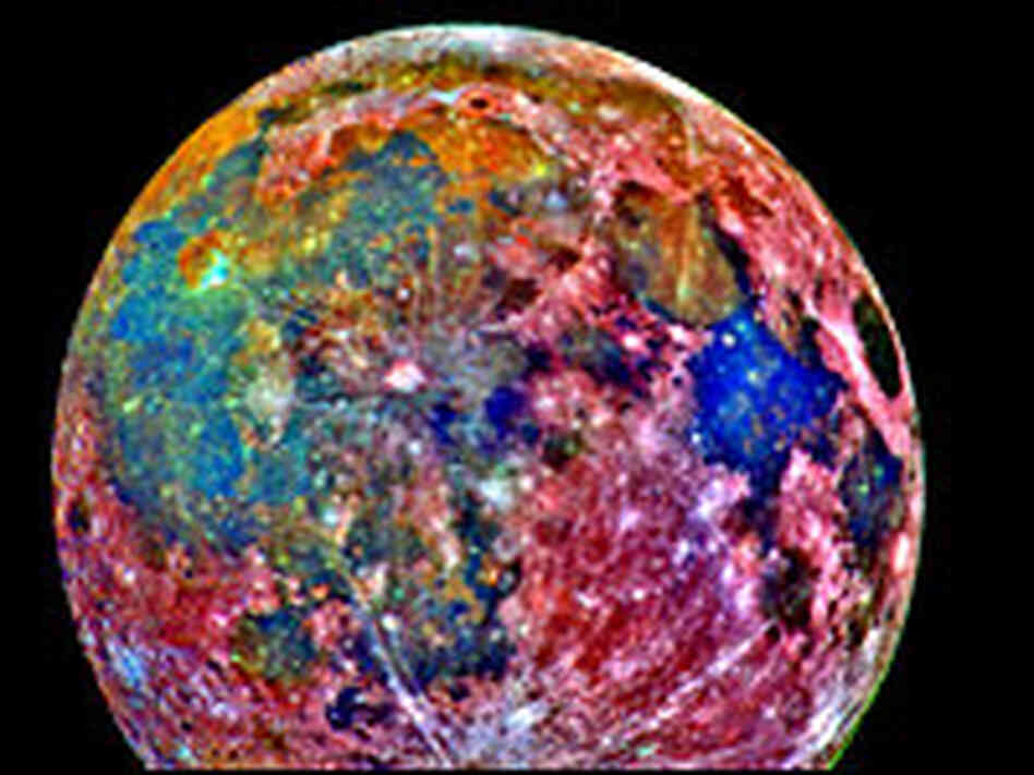 A false color photograph of the moon, taken Dec. 8, 1992,